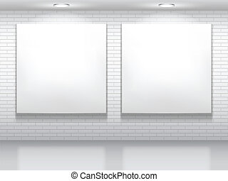 White pictures. - Two blank white pictures on brick wall.