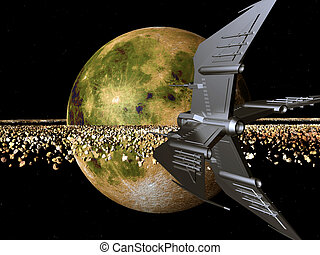 Spaceship in a Distant World - Computer generated 3D...