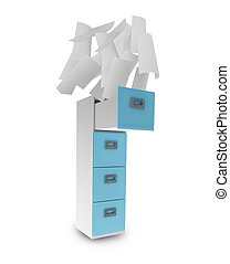 File cabinet and documents with paper