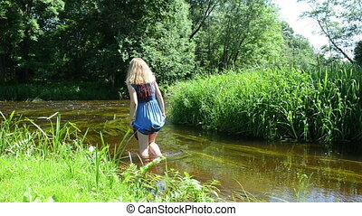 girl dress wade river - blonde girl with long blue mottled...