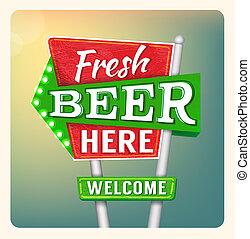 Retro Neon Sign Beer