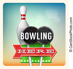 Retro Neon Sign Bowling lettering in the style of American...