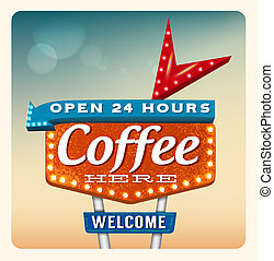 Retro Neon Sign Coffee lettering in the style of American...
