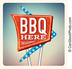 Retro Neon Sign BBQ lettering in the style of American...