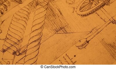 Old Engineering drawing - 14th Century Leonardo da...