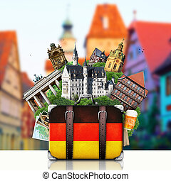 Germany, German landmarks, travel and retro suitcase