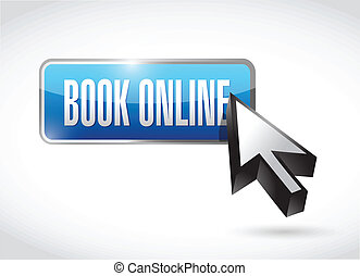 book online button and cursor. illustration design over a...