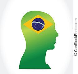 brazil flag people head. illustration design