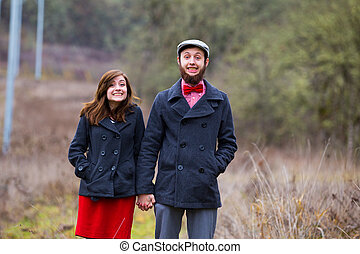 Happy Engaged Couple Portrait - Portrait of a happy couple...
