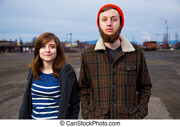 Couple Hipster Fashion Portrait - Modern, trendy, hipster...