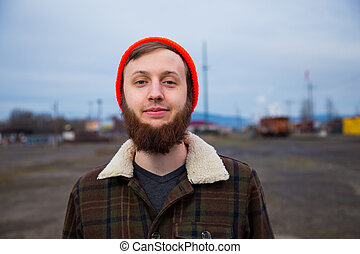 Male Hipster Fashion Portrait - Modern, trendy, hipster guy...