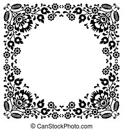Polish floral folk black embroidery - Traditional vector...