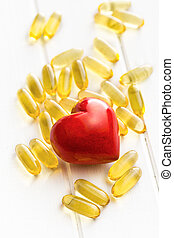 Cod liver oil Gel capsules with red heart