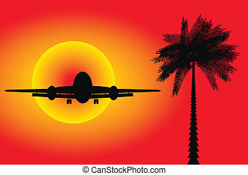 Airplane landing in a sunset - vector illustration.