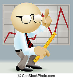 The analyst - Illustration of simplified man in office...