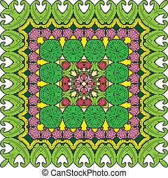 Squared background - ornamental floral pattern  with palm leaves and Frangipani flowers. Design for bandanna, carpet, shawl, pillow or cushion