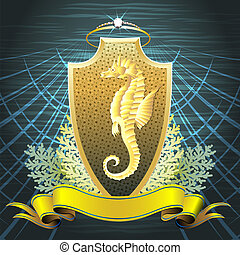 The Seahorse shield - The golden seahorse shield with pearl...