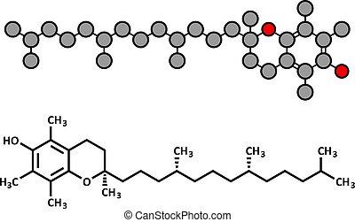 Vitamin E alpha tocopherol molecule Stylized 2D rendering...