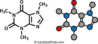 Caffeine stimulant molecule. Present in coffee, tea and many...