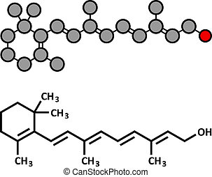 Vitamin A (retinol) molecule. Stylized 2D rendering and...