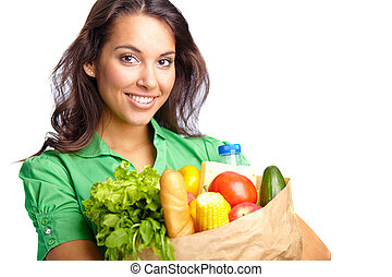 Healthy lifestyle - Portrait of pretty girl with big paper...