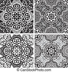 Set of squared backgrounds - ornamental seamless pattern....