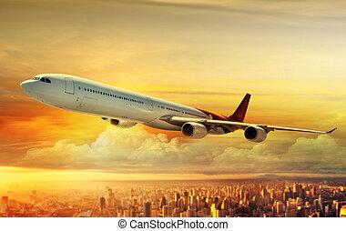 avião, voando, acima, cidade