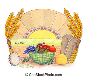Shavuot - Illustration of Shavuot holiday symbols in a nice...