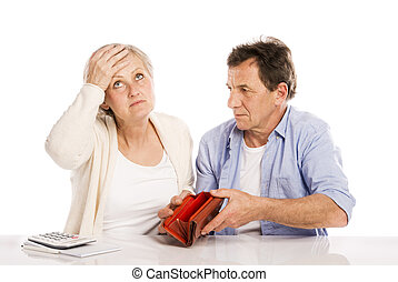 Senior couple in bankrupt - Senior couple with empty wallet...