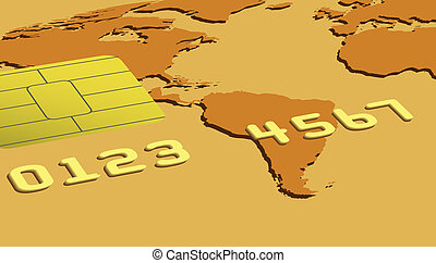 Part of gold credit card close-up. Vector illustration