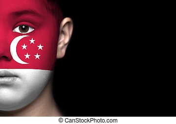Human face painted with flag of Sin