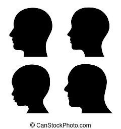 People Profile Head Silhouettes Set Vector illustration
