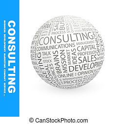 CONSULTING. Concept illustration. Graphic tag collection....