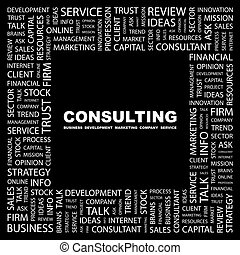 CONSULTING Background concept wordcloud illustration Print...