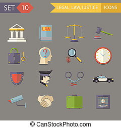 Retro Flat Law Legal Justice Icons and Symbols Set Vector...