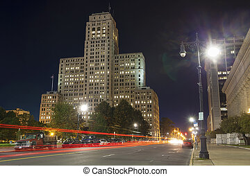 The Art Deco Skyscraper in the night, NY - The Alfred E....