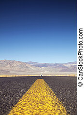 Highway And Mountains - Highway Toward Death Valley,...