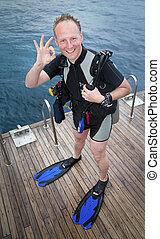 Scuba diver showing ok sign