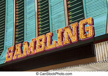 Gambling Sign in Las Vegas, Nevada, USA
