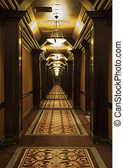 Long Art Deco Corridor in Hotel