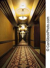 Long Art Deco Corridor in Hotel