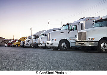 Trucks in a row - Different american trucks in a row