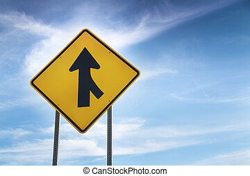 W4-1 Right Merge Sign - Merge road sign as symbol of...