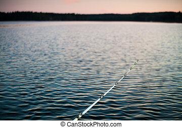 Fishing rod with lake's twilight background