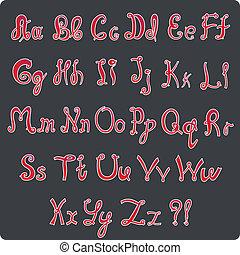 hand-written alphabet