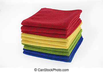 Four colors of towels/ rags - Four colors of cloth isolated...
