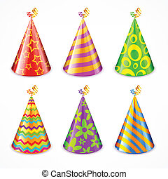 Set of party hats on white - Set of colorful party hats with...