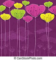 Stylized flower card - Stylized colorful flowers card,...