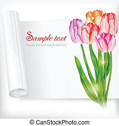 Sheet of paper and tulips on white