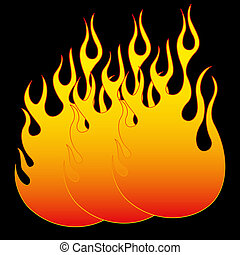 Fire ball on black Vector illustration clip art